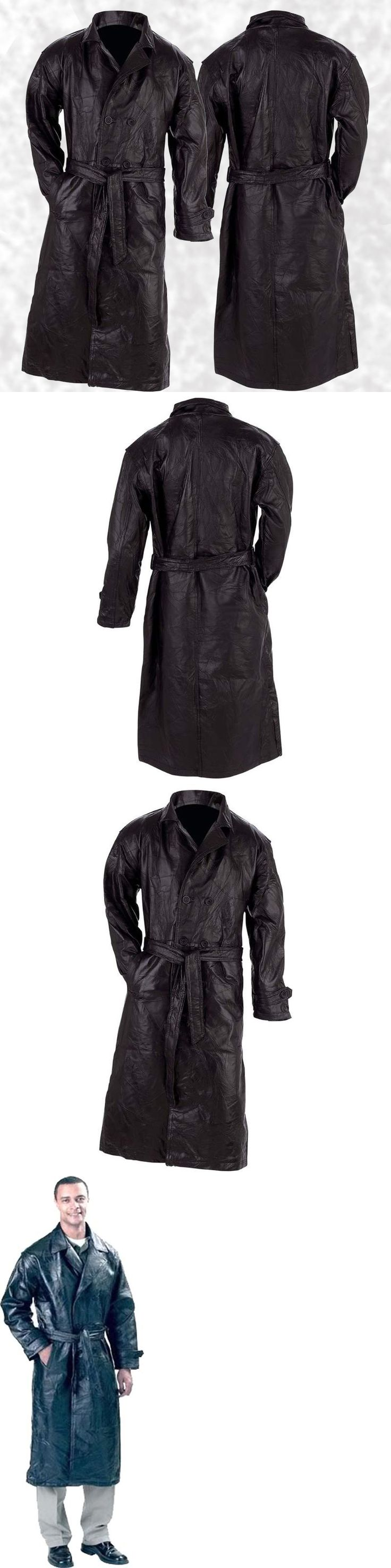Coats and Jackets 57988: Mens Lined Black Leather Button Front Trench Over Coat Full Length Duster Jacket -> BUY IT NOW ONLY: $43.89 on eBay!