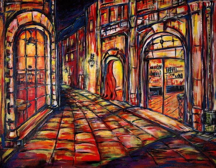 ARTFINDER: Tuscan street  by DASMANG    (Gary Aitken ) - A quiet Tuscan street at night asks the question ,Transition from day activity to pre or post nightlife activity?,... in this vibrant scene .