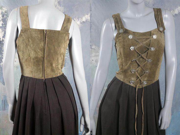 Vintage Dirndl Dress, Bavarian Trachten Octoberfest Dress, Sage Suede Bodice w Corset Tie & Brown Wool-Blend Skirt: Size 8 US, 12 UK by YouLookAmazing on Etsy