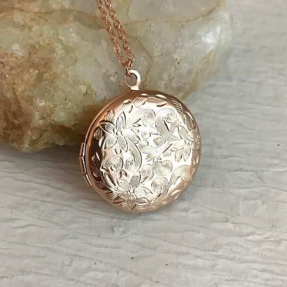 Rose Gold Locket Necklace, small floral embossed round vintage simple photo pendant birthday Christmas gift for wife girlfriend   #pendant #gift #vintage #round #birthday #PlanetCharm #MoonJewelry #SilverCuffBracelet #RedPoppies #PressedFlowerRing