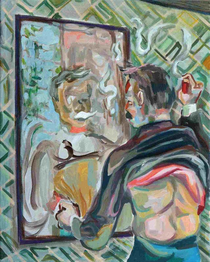 Wolfgang Neumann, Rasur, 2014, Acryl und Ölkreide auf Leinwand, 50 x 40 cm // Wolfgang Neumann - Kopfstand. Aras Ören zum 75.Geburtstag, Egbert Baqué Contemporary Art, Berlin.