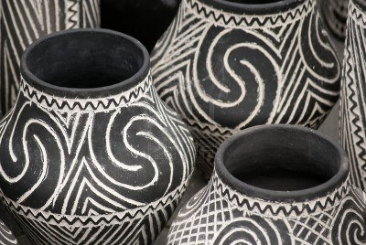 White black pottery vase with simple-motive traditional romanian