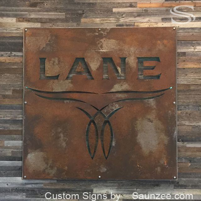Saunzee Large 3d Rustic Rusty Metal Sign Offset Old Barn