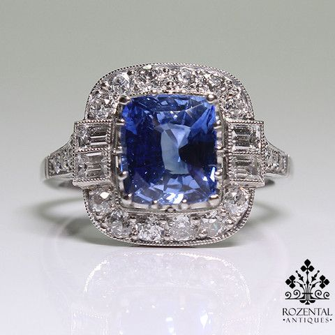 Antique Art Deco Platinum Diamond & 2.67ctw Sapphire Ring