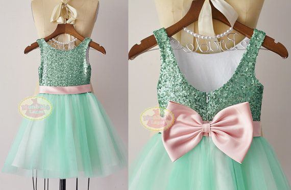 Menta verde lentejuelas tul flores niña Junior Dama de honor partido Vestido de novia con faja/lazo rosa F0099 ONSALE