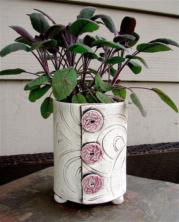 This listing is specifically for the Swirl Pot with Celadon Green Buttons. Decorative handmade Plant Pots with colored clay buttons. They are made