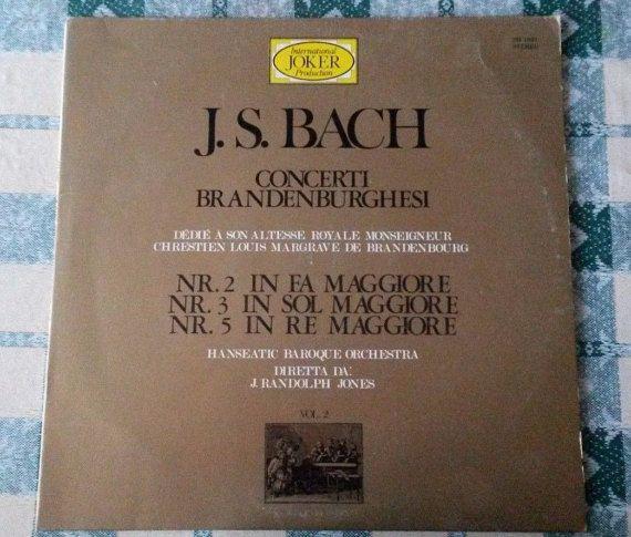 J. S. Bach, VINILE 1969 Concerto Brandenburghese Nr. 2, 3, 5 - J. Randolph Jones. Musica classica disco vinile 33 giri vintage antico usato by ROwenaGlassCreations #italiasmartteam #etsy