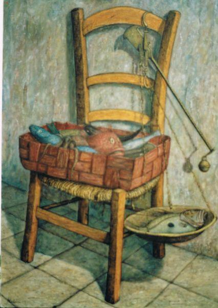Sedia con pesci - Opera d'arte di Ambrogio Castaldi