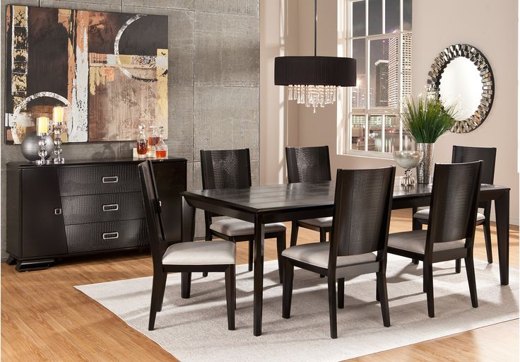 picture of sofia vergara biscayne black 5 pc rectangle on rooms to go dining room furniture id=71724