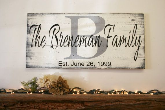 Custom Wood Sign Family Name Sign Wedding Gift by RusticlyInspired