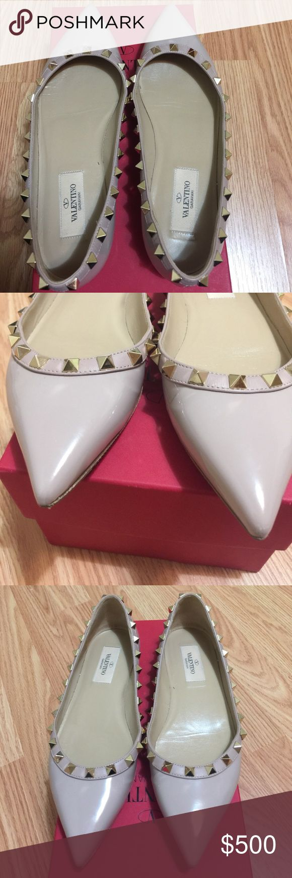 Valentino rock stud ballerina Really nice and excellent condition, had these professionally soled to keep from showing wear. Come with original box, dust bag , authentic card and extra rockstud. Price is firm Valentino Shoes Flats & Loafers