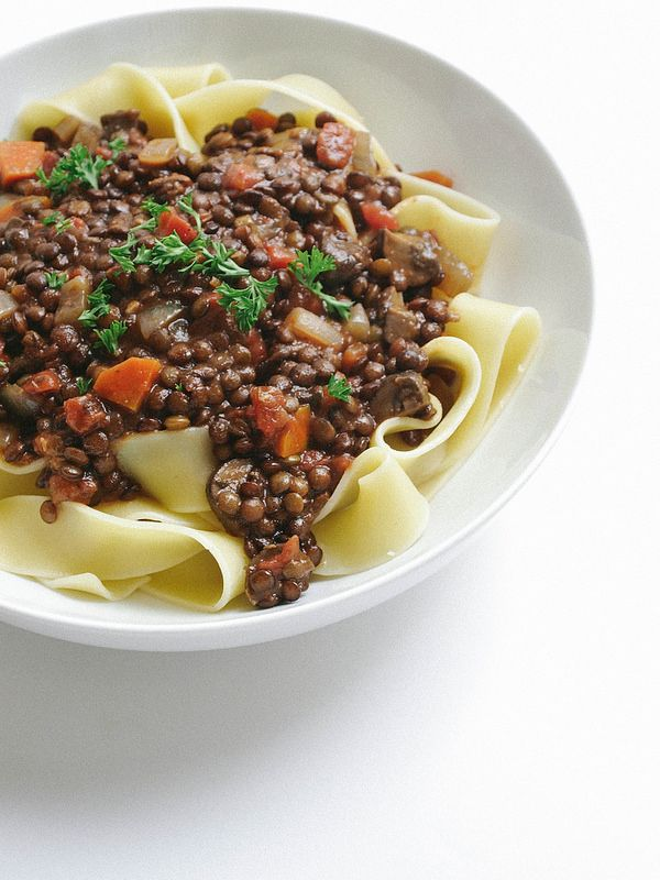 Hearty Lentil & Mushroom Ragu + Pasta... Savory and hearty, pair this ragu over mashed or roasted potatoes, or serve with pasta of choice.