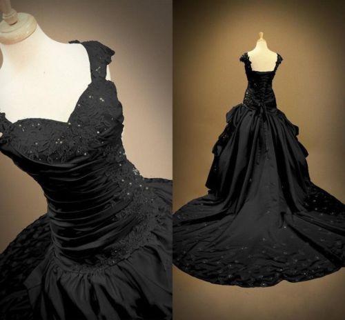 Gothic New Black Lace-Up Wedding Dresses Custom Made
