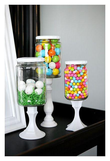 Pickle Jar Project: Pickled Jars, Projects, Idea, Candlesticks, Easter Decor, Glasses Jars, Mason Jars, Candy Jars, Apothecaries Jars