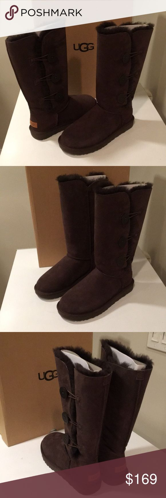 New Ugg Triple Button Bailey chocolate boots 9 ❤️ New Ugg Triple Button Bailey tall boots Color chocolate Size 9   Twin faced sheepskin uppers with suede heel guards for added structure. It is water resistant and stain resistant. Boot cuff can be worn up or folded over depending on style preference. Wooden button and elastic band closure for easier on and off wearability. Fully lined with shearling and has a foam outsole   Measurements: Heel Height: 1 in Circumference: 16 in Shaft: 12 in…