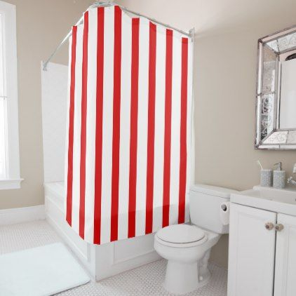 Red And White Stripes Shower Curtain   Patterns Pattern Special Unique  Design Gift Idea Diy