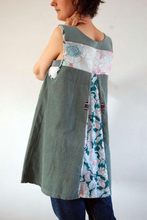 tunique en coton bio incrustée d'imprimés estivaux | Chèresloques, créateur de vêtements