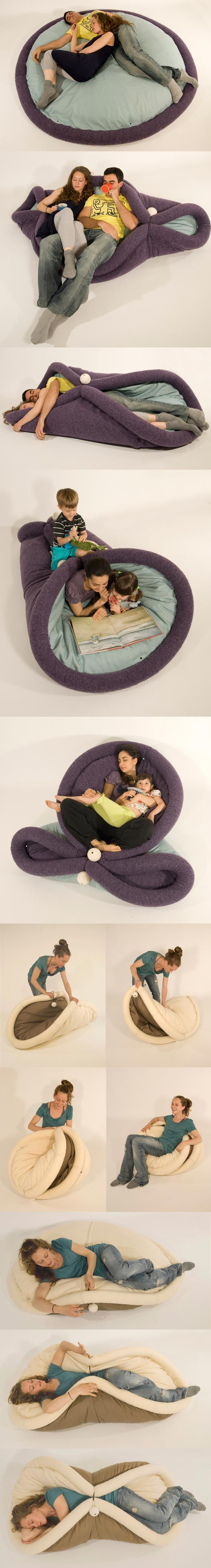 Blandito :::: It's a bed! It's a chair! No… it's Blandito, a convertible pad for lazy living! More versatile than a sofa bed, Blandito is a large pillow that can be wrapped, folded, and twisted into various recliners of your choice.