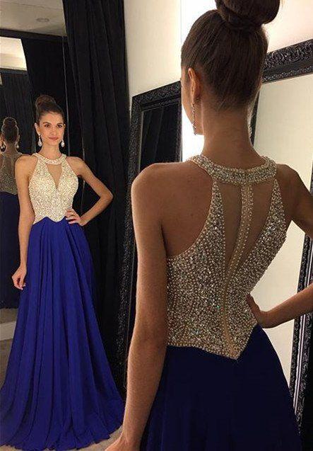 Sleeveless Beading Long Prom Dress I1206