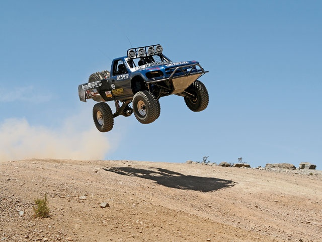 1995 Toyota Hilux Desert Race Truck gets some big air.