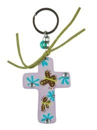 WOODEN KEYRING: PURPLE CROSS. Colorful inspirations to brighten your day! Wooden keyrings (Cross).