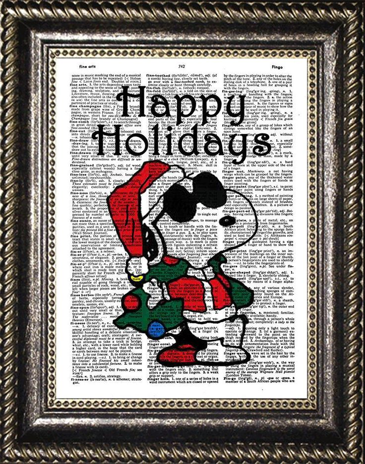 Snoopy Christmas Art, Snoopy Santa Claus Dictionary Art, Snoopy Happy Holidays Art, Snoopy Poster, Snoopy Christmas Decoration, Snoopy Gift