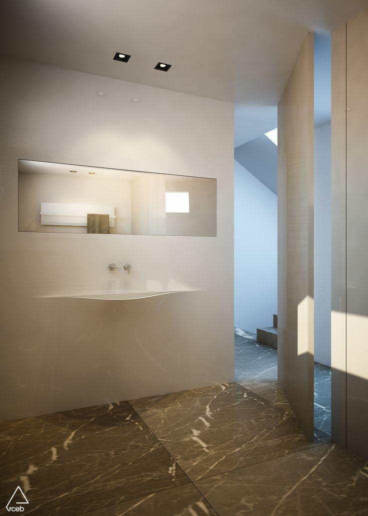 Rendering of a bathroom -Emanuela Berardi 3D Generalist | New house nearby Rimini, Italy – arch. Stefano Zaghini's project  #bathroomdesign #3dmodeling #cgi #vrayrender #vrayforc4d #bathroom #marble #lupi #arceb #stefanozaghiniarchitetto #interior #interiordesign #architecture #italianstyle #minimalism