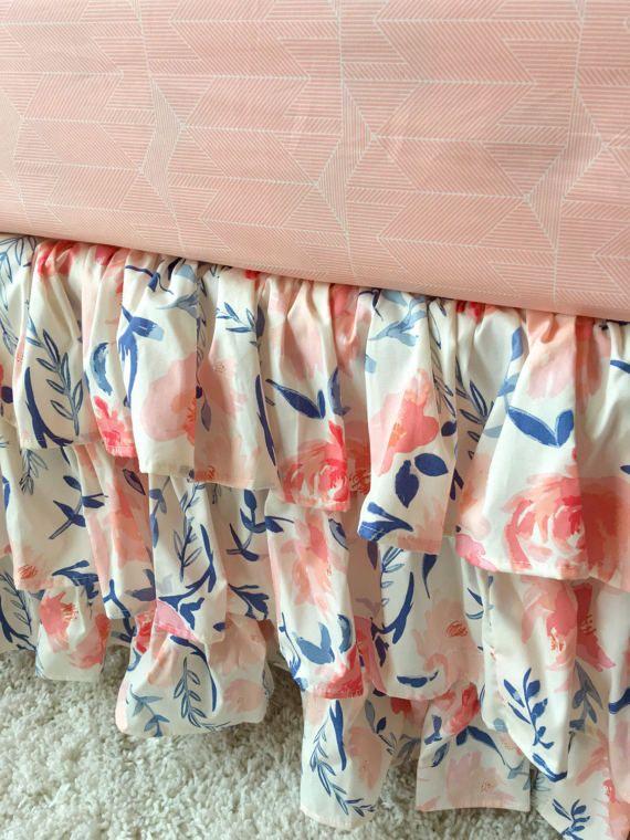 Blush Floral Crib Skirt Floral Crib Skirt by RitzyBabyOriginal