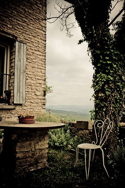 Gordes, Provence-Alpes-Cote d'Azur, FR - I can so see myself sitting here with a hot Cafe Au Lait and soaking up that view