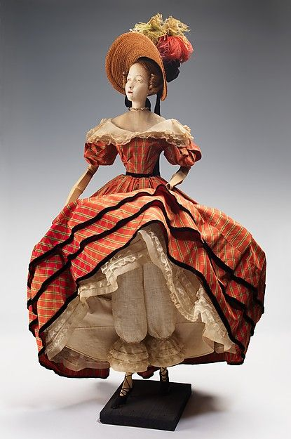 """""""1832 Doll"""" Designer: Marcelle Dormoy (French) Rose Descat Antoine (French) Date: 1949 Culture: French Medium: metal, plaster, hair, silk, straw, cotton, feather, linen. Front"""