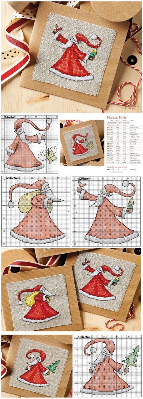 Поздравления, схемы вышивки деда мороза в открытке