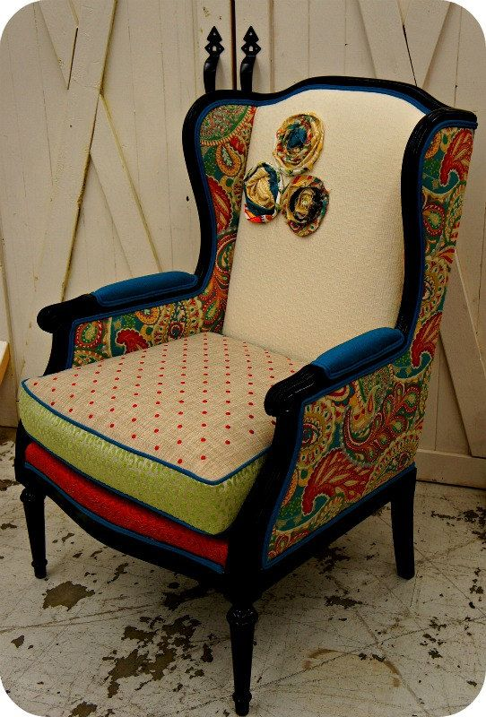 Gorgeous Antique Chair That Underwent An Interesting Upholstery Job. Might  Be Cool To Do Something