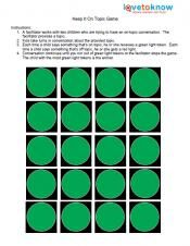 Keep it on Topic Game is a Social Skill Activity for Kids with Autism in elementary school or higher. This helps students practice keeping a conversation on topic. The only material needed is the printable tokens. Found through Pinterest.