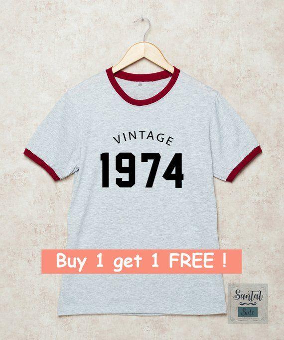 45th Birthday Shirt Vintage 1974 Shirts Ringer Tee 70s Tshirt Gift 45 Tees R