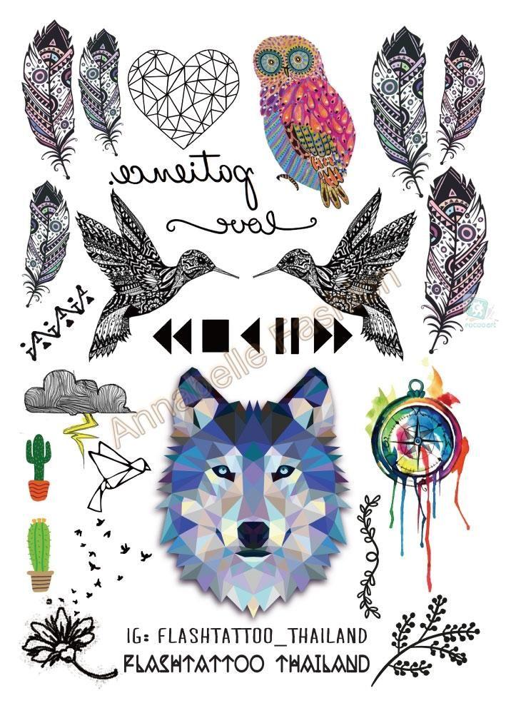 A6080-208 Grande Negro Taty tatuagem Body Art Tatuaje Temporal Pegatinas Gradiente Colorido Lobo Owl Birds Etiqueta Engomada Del Brillo Del Tatuaje