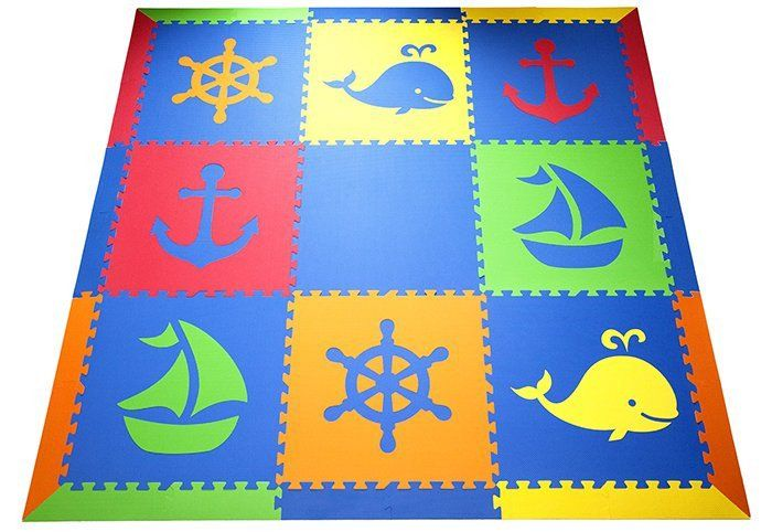 SoftTiles Nautical Children's Play Mat Set with Borders Blue, Red, Orange, Yellow, Lime