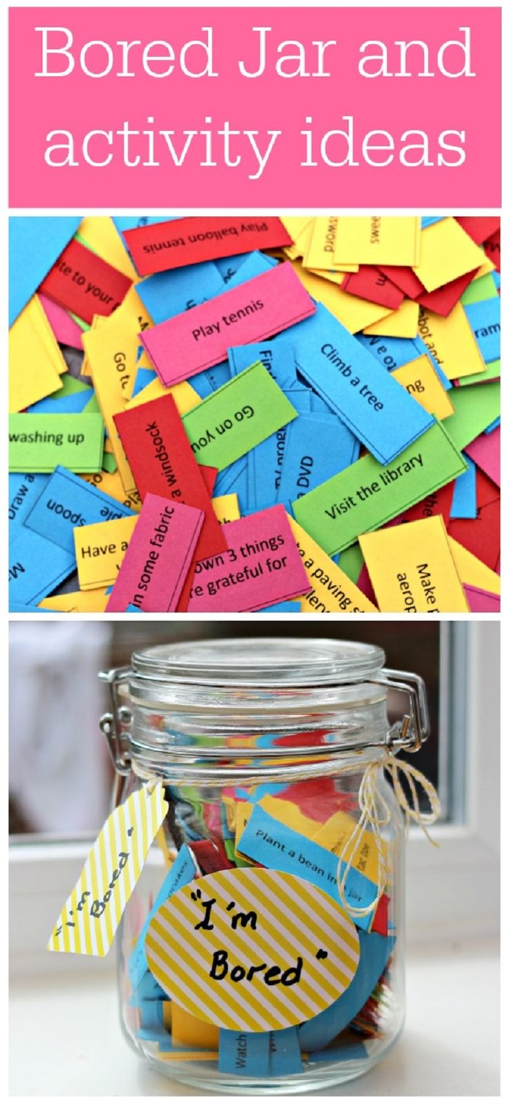 Make a bored jar - 16 DIY Ways To Stay Busy And Crafty When It's Snowing | GleamItUp