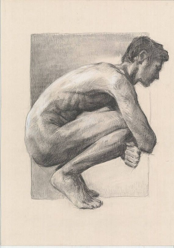 Nude male ORIGINAL DRAWING Charcoal and white chalk. Realistic art. Black and white. Naked man. Size: 27.5 x 20 inches. Signed by Artist Katarzyna Gagol