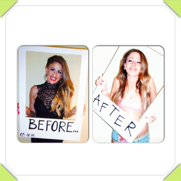 Before and after picture for the bachelorette parties was such a fun idea I'm happy I did it! So easy too!