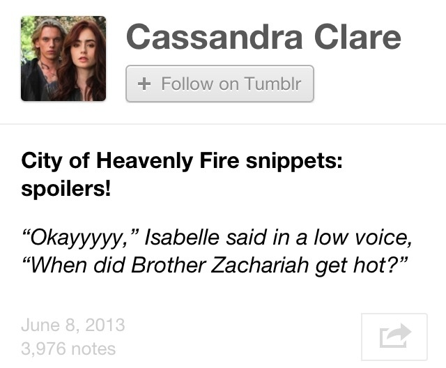 The Mortal Instruments: City of Heavenly Fire New Quote by Cassandra Clare!