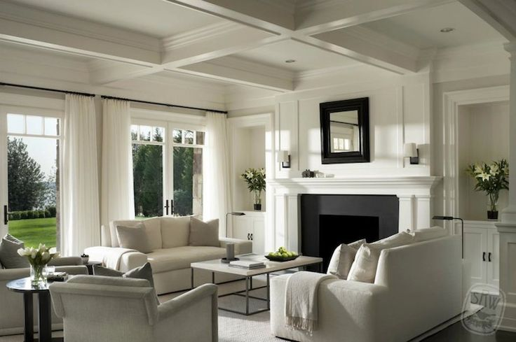 Monochromatic Palette Coffered Ceiling Flanking Built In Alcove Design Home Decor