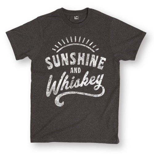 Sunshine And Whiskey Funny Summer Drinking Drunk Sunset Humor Whisky Mens Shirt