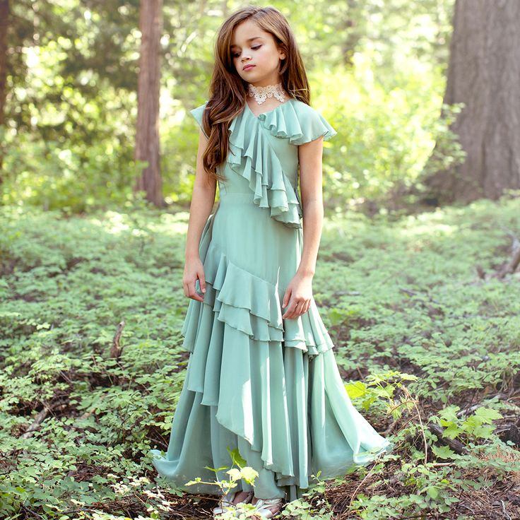 """Wow!"" does not describe this striking dress by Joyfolie! Sage is a versatile color that can be worn year-around. Cascading ruffles create an airy & feminine look appropriate for girls of all ages. Free US shipping on $50 + layaway plans as low as 15% down with code MLJPaymentPlan"