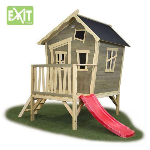 Exitin superhauska leikkimökki jossa liukumäki! Exit Crooky 300 on valmistettu setripuusta - Helposti ja nopeasti koottava leikkimökki jossa lapset viihtyvät!  #leikkimökki #kesäpiha #lastenleikit #mökki #pihaideat