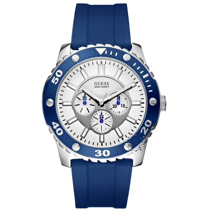 GUESS Multi Function Blue Rubber Strap  115€  http://www.oroloi.gr/product_info.php?products_id=29271
