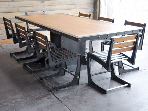 Vintage Industrial Dining Table and Chairs от VintageIndustrial