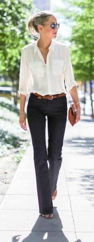 Office Outfit | style for over 35 wide leg denim in a dark wash are a great work option for casual friday pair them with a silk button up and tan belt for a timeless desk to dinner 175