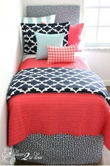 Coral Quilt, Navy U0026 Canal Blue Dorm U0026 Teen Designer Bedding Set