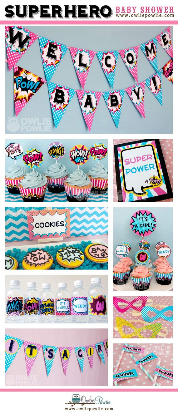 Baby Shower Superhero Party Pink by OwliePowlie--- even a girl version!!! This is it!!