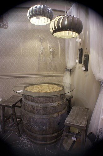 like the using the wine barrel as a corner table